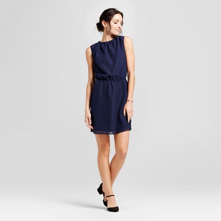 Women's Textured Chevron Dress - A New Day Navy (Blue) Xxl