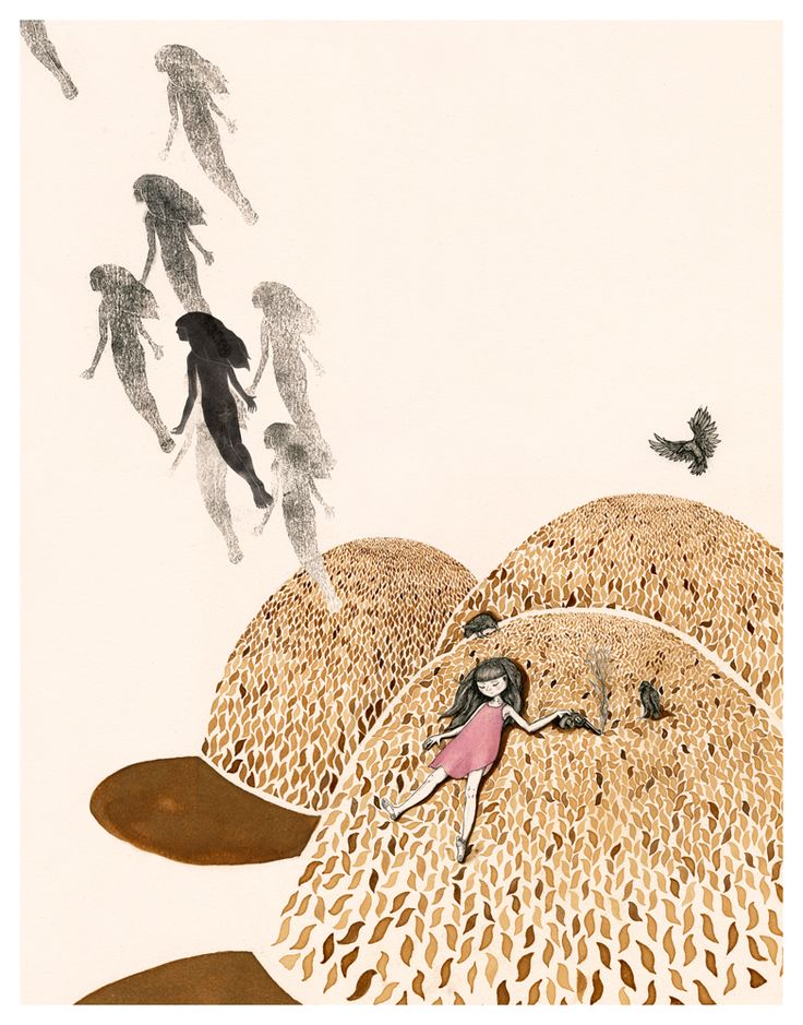 Wonder Meyer: 'Sybil's Ascension' This illustration was made with coffee, ink and watercolour.