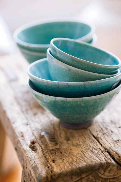 crackled turquoise bowls