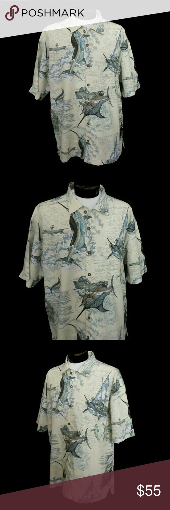 "Vintage 90s Cotton Button Front Shirt Guy Harvey Overall Old Man and the Sea print.   DESIGNER LABEL: --  Guy Harvey By Bluewater Wear Handcrafted Made in USA 100% Cotton  Tagged a size XXL.  MEASUREMENTS:  Shoulders: 24"" Across  Sleeve Outer: 11 1/4"" Long - Shoulder Seam to Sleeve End  Chest: 55"" - Underarm to Underarm  Bottom: 57"" Around  Length: 33"" - Center Back to Shirt Bottom  Left Upper Chest Pocket: 6 1/2"" Deep x 6"" Wide  This is in excellent condition with no issues. Guy Harvey…"