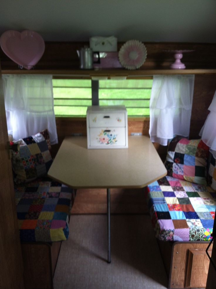 The dinette in vintage camper trailer. I could make some quilts for the seats:)