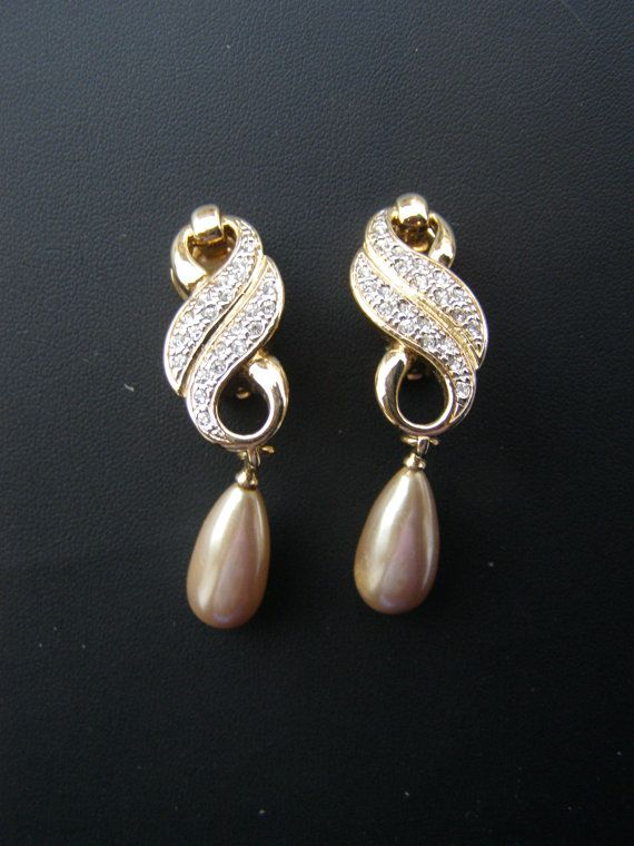 Pearl drop clip gold plated earings with crystals/ by Mpoulitsa