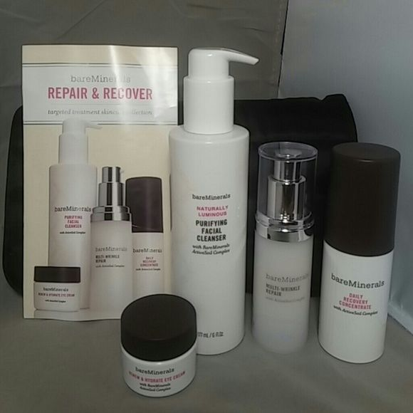 4pc BARE MINERALS Repair & Recover Skin Care NEW This is a new set of Bare Minerals Repair & Recover Targeted Treatment Skincare Collection.  Included: 6oz Naturally Luminous Purifying Facial Cleanser. 2oz Daily Recovery Concentrate 1oz Multi-Wrinkle Repair .05oz Renew & Hydrate Eye Cream Paperwork about each product.  Also included is a Strivectin Cosmetic Bag this stores all this perfectly. bareMinerals Makeup