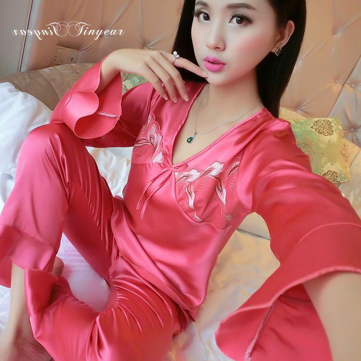 Women sexy lingerie nightwear underwear ladies sleepwear brands plus size M-XXL long sleeve pyjama