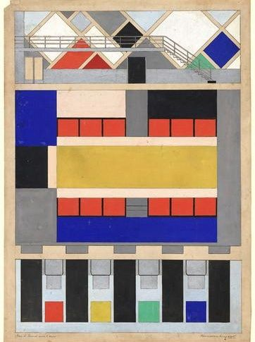 Van Doesburg, Theo  - Cinema-dancehall in the Café Aubette. Colour scheme, preliminary version