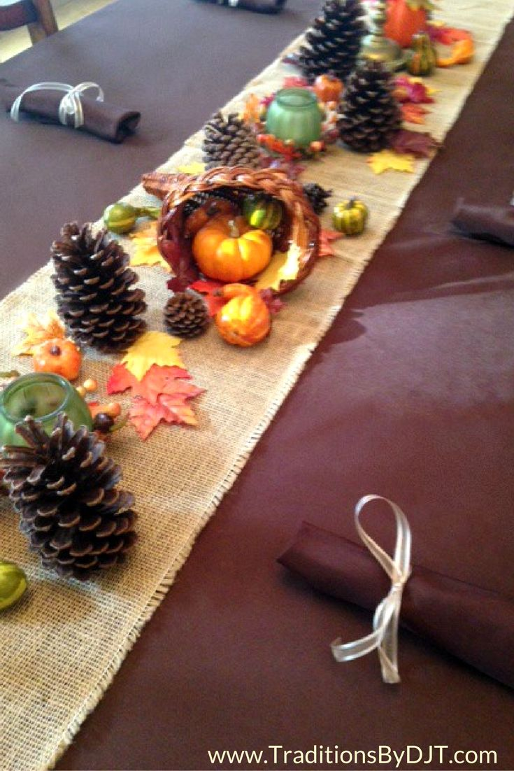 Chocolate brown tablecloth, rustic burlap runner and Fall decor to help make your #Thanksgiving table gorgeous this year. www.TraditionsByDJT.com