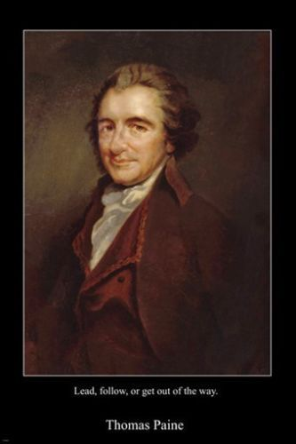 THOMAS PAINE portrait politician USA poster COMMON SENSE quote 24X36 RARE