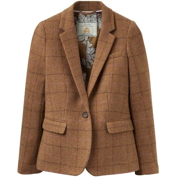 Women's Joules Horatia Tweed Jacket ($184) ❤ liked on Polyvore featuring outerwear, jackets, tweed jackets, joules jackets, checkered jacket, brown jacket and single breasted jacket