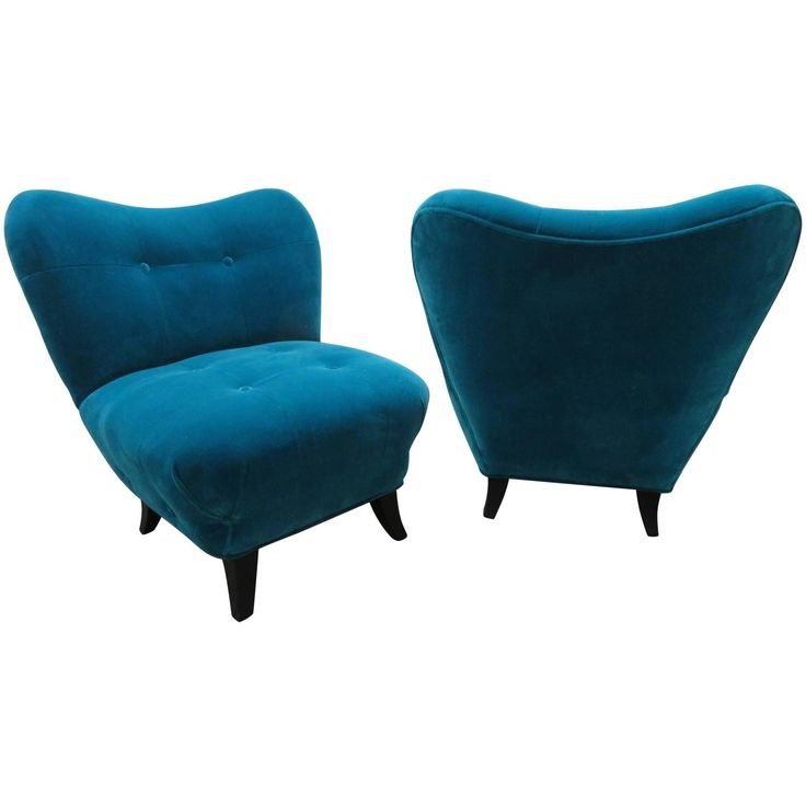 Excellent Pair of Gilbert Rohde Style Mohair Slipper Chairs, Mid-Century Modern