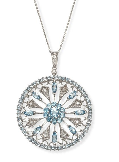 Round Medallion Diamond and Aquamarine Necklace and Pendant in 14k White Gold only $1,395.00 - Aquamarine Jewelry $1395.00