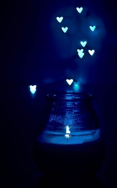 Blue candle and blue hearts. Inspiration for #blue #gems