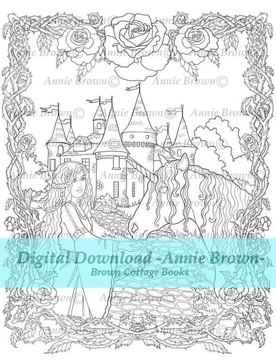 Unicorns PDF Download Adult Coloring Page Fantasy Printable Download ...