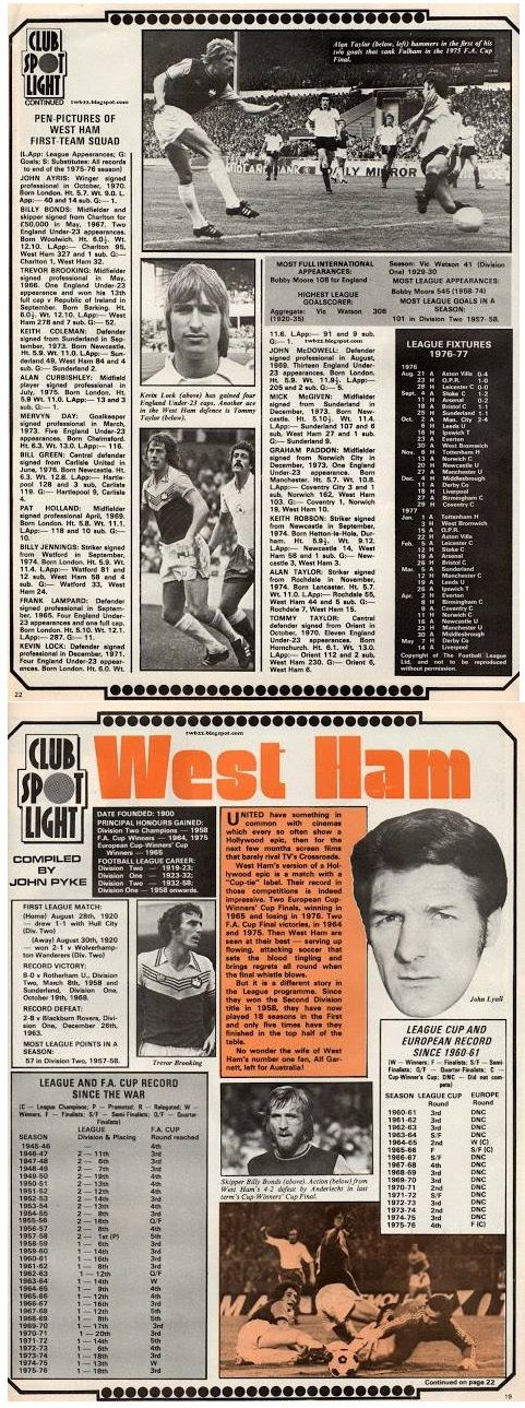 """The 1976-77 was the """"slap in the face"""" season as the harsh reality hit me that maybe my faith in my beloved Hammers wasn't going to help them. This was another SHOOT pull out I found in my old bedroom."""