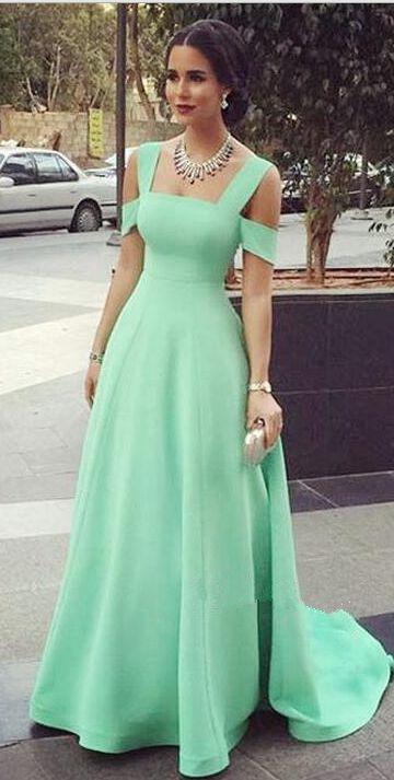 Cute Simple Elegant Prom Dresses,A-line Long Mint Prom Gowns, Prom Dresses For Teens,Prom Dress,Party Prom Dresses