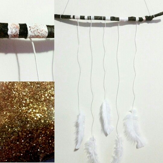 Copper glitter stick mobile baby nursery white and copper