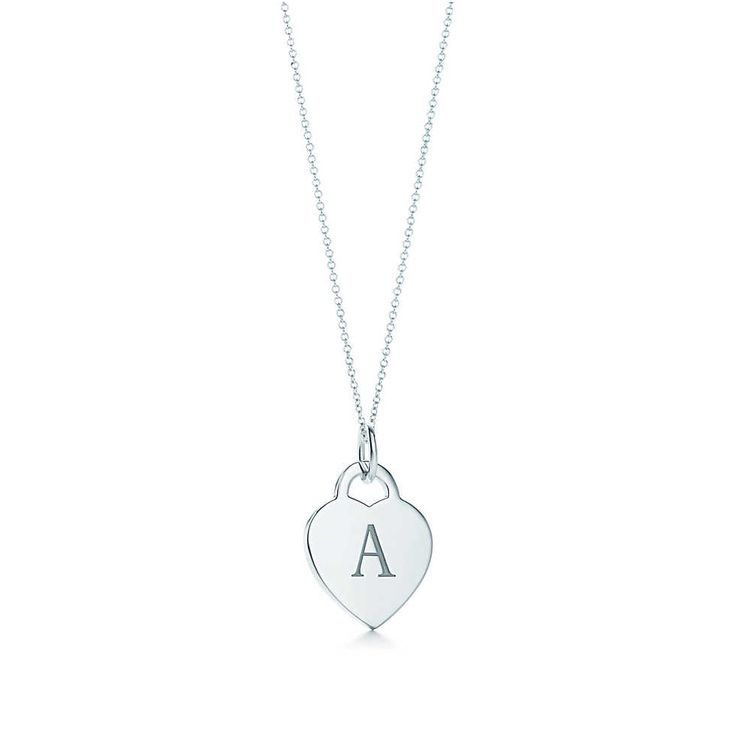 Tiffany & Co. -  Alphabet heart tag letter charm in silver on a chain. Letters A-Z available.