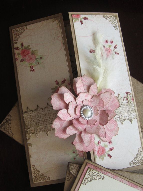 Shabby Chic and Pink Wedding Invitations by JennyPie5 on Etsy, $6.25
