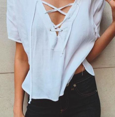 lace up tee + denim