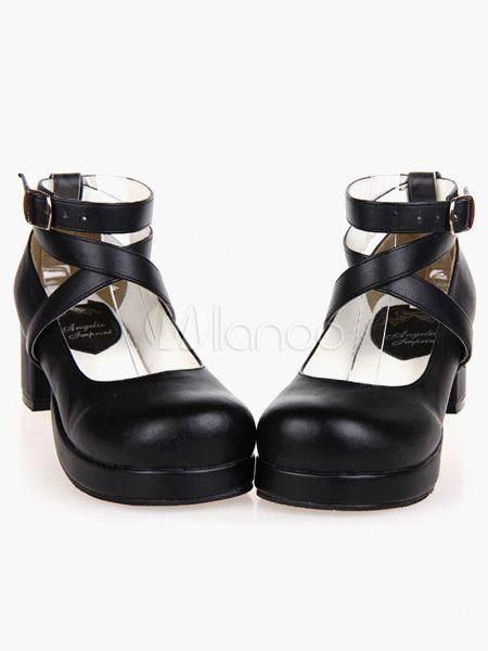 80a55402a746 1.8   high heel with 0.6   platform black pu pumps features ankle straps