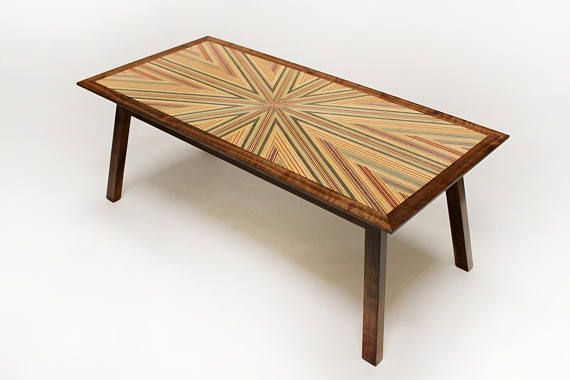 Recycled Skateboard and Walnut Geometric Coffee Table wood