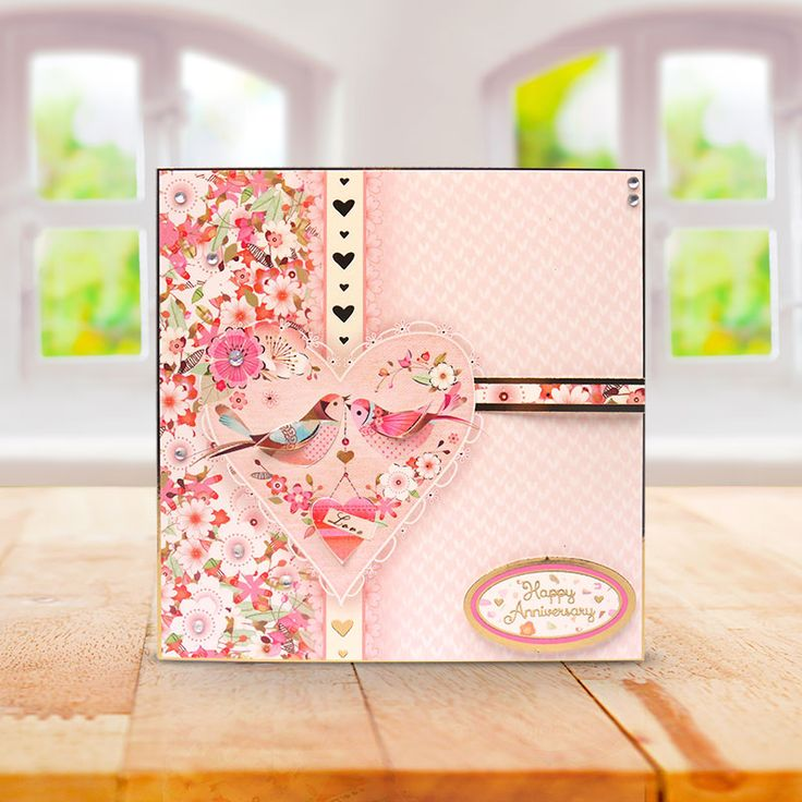 This card was made using the 'Love Birds' Sent with Love topper set from Window to the Heart by Hunkydory Crafts http://www.hunkydorycrafts.co.uk/papercraft/hunkydory-collections/window-to-the-heart-sent-with-love.html