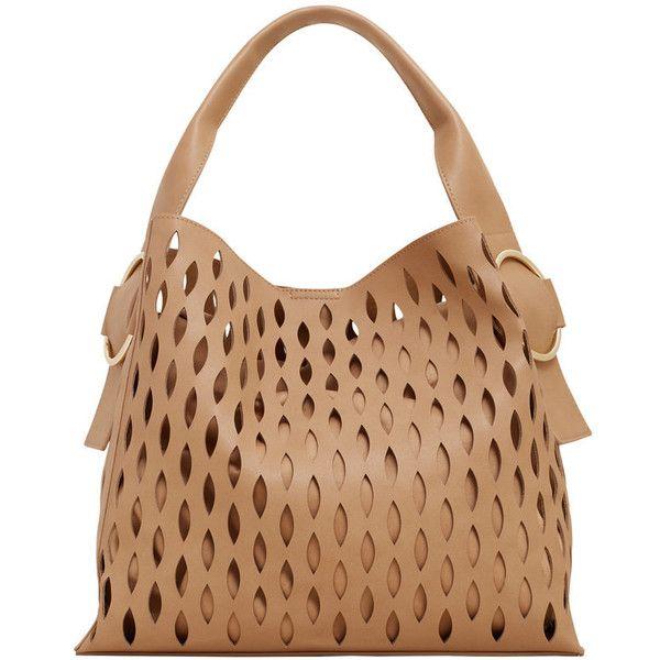 MANGO Laser-Cut Design Bag ($80) ❤ liked on Polyvore featuring bags, handbags, beige purse, metallic bag, strap purse, laser cut handbag and metallic purse