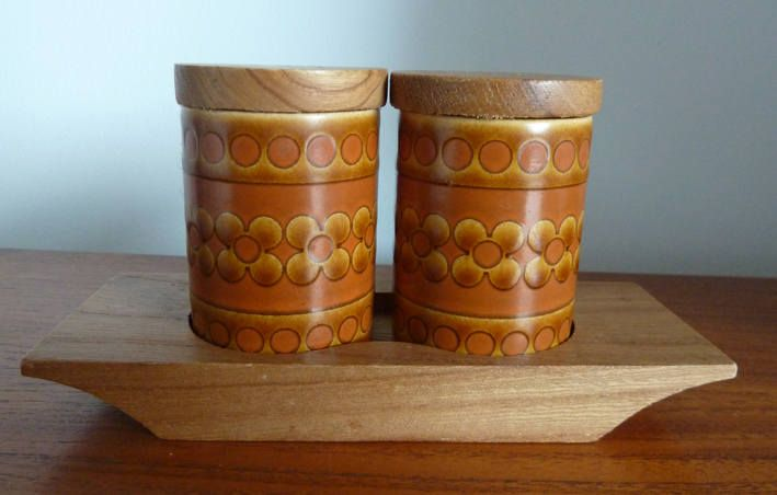 Retro Vintage 1970's Hornsea Saffron Cruet Salt & Pepper Set