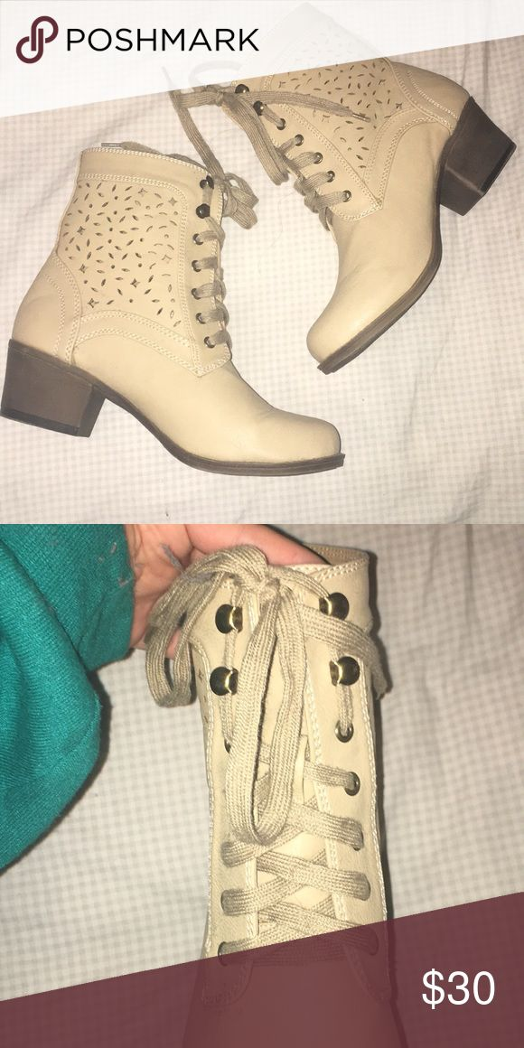 Tan Pacsun Booties Never Worn Tan PacSun Booties with cut outs!! About a one inch heel and lace up PacSun Shoes Ankle Boots & Booties