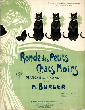 Illustrated Sheet Music - Ronde des Petits Chats Noirs (1908)