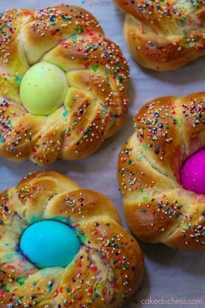 A typical Italian Easter bread stuffed with colored hard boiled eggs.