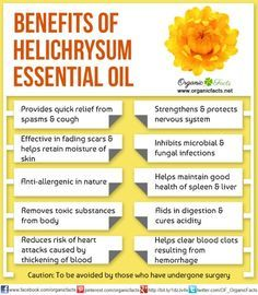 The health benefits of Helichrysum Essential Oil can be attributed to its properties like anti spasmodic, anti coagulant, anti allergenic, anti microbial.
