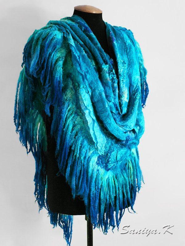 "Shawl felted ""Aquamarine"" by SaniyaK on Etsy"