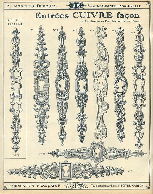 Antique door hardware, keyhole catalogue qucaillmeubles p36