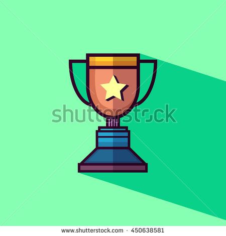Trophy winner icon flat design with long shadow. Vector illustration.