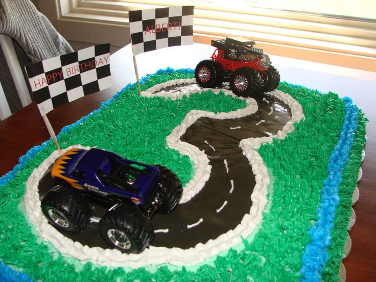 Cake Ideas For 3 Year Old Boy : 3 year old boy birthday cake. Grass tip + gum paste road ...