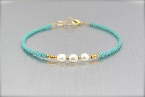 Pearl Bracelet Real Pearl Bracelet Turquoise por MissCecesJewels