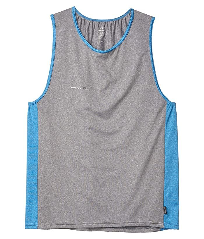 O Neill Hybrid Tank Top Cool Grey Brite Blue Men S Swimwear Suns Out Flex Your Muscles From The Surf To The Sand In The O Neill In 2020 Tops Mens Tops Mens Swimwear