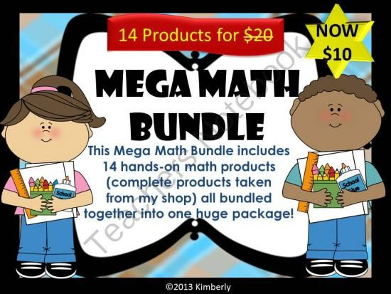 Mega Math Bundle Giveaway - Mega Math Bundle Giveaway includes 14 hands-on products taken from my shop and bundled together to create one huge bundle. These products will make great additions to your math center..  A GIVEAWAY promotion for MEGA BUNDLE Mega Math Bundle-Includes 14 Hands-On Math Products (Zip File) NOW $10 from By Kimberly on TeachersNotebook.com (ends on 10-31-2013)
