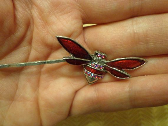 Vintage New Old Stock Enameled Rhinestone Bee Insect Bobby