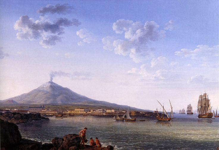 Puerto de Catania, con el Etna
