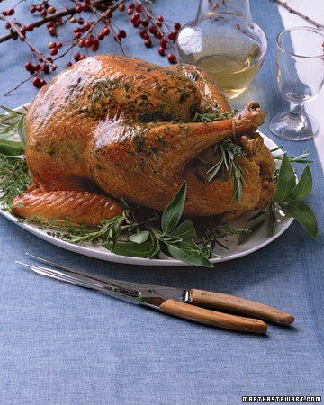 If you'd prefer a different kind of poultry to the traditional Michaelmas goose, turkey is a substitute readily available in the USA. This recipe from Martha Stewart incorporates traditional autumnal flavors like apple cider and herbs.