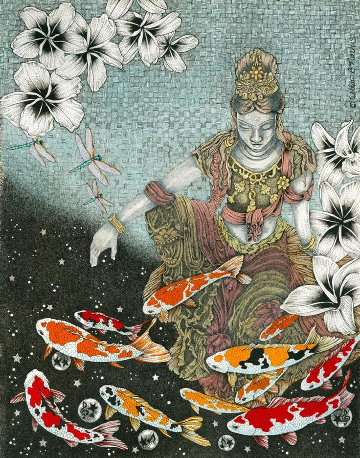 "Willow Norris: ""Dragonfly Dream VII: Listening to Peace at the Fish Pond"" Print"