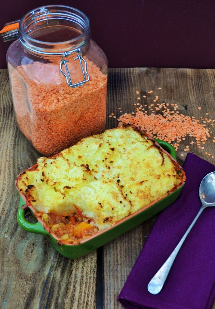 Veg Box Red Lentil Shepherd's Pie. A great way of using up your vegetable box and a very satisfying meal..Vegan