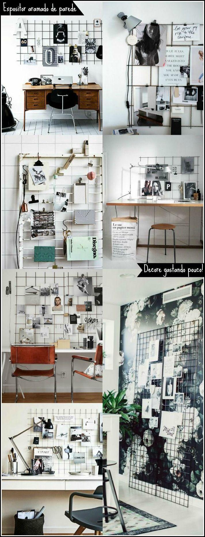 Tela Aramada: 29 inspirações para o seu mural de inspirações Wire grid wall | Mood board (Diy Wall)