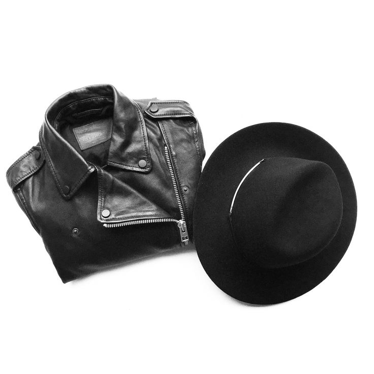 Flat lay. All Saints Balfern Leather Jacket, Janessa Leone Hat. #flatlay - OVRSLO: