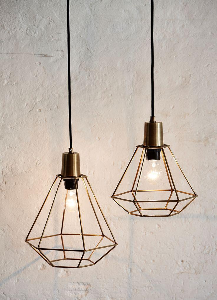 Skøn Diamant messing lampe fra Hübsch - Brøndum Interiør ...