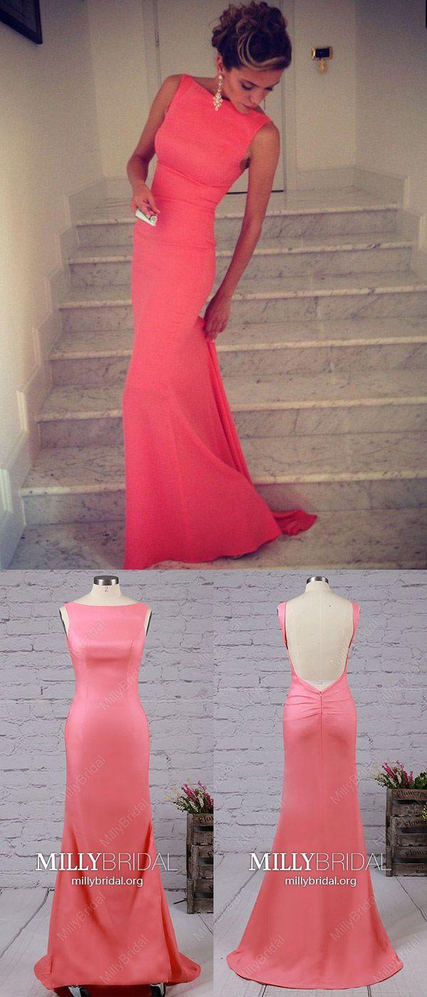 Watermelon prom dresses longmermaid formal evening dresses modest