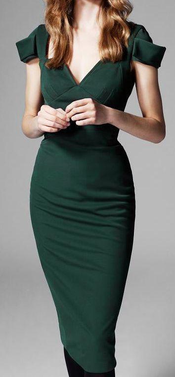 Emerald pencil dress