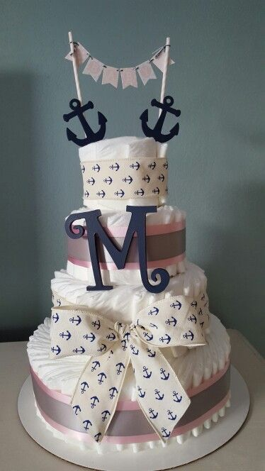 Nautical baby girl diaper cake