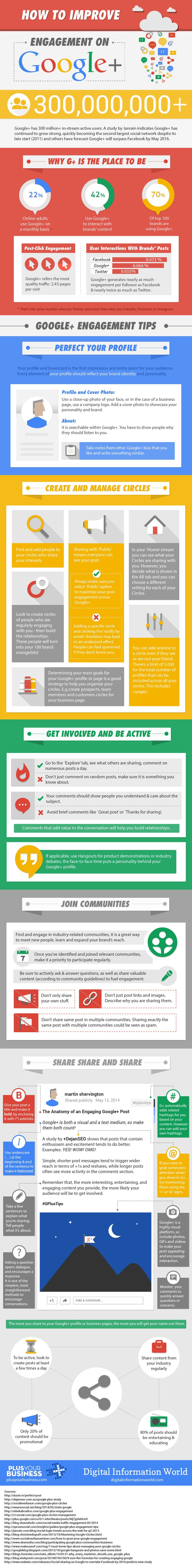 How To Improve Engagement on Google+ - #infographic #socialmedia #GooglePlus For Business Marketing